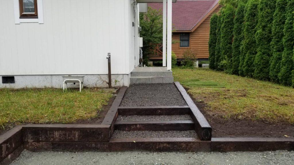 枕木施工の階段